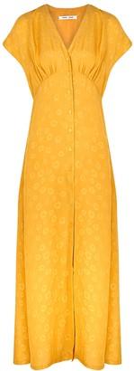 Samsoe & Samsoe Valerie yellow silk-jacquard maxi dress