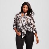 Women's Plus Size Printed Bow Blouse - Ava & Viv