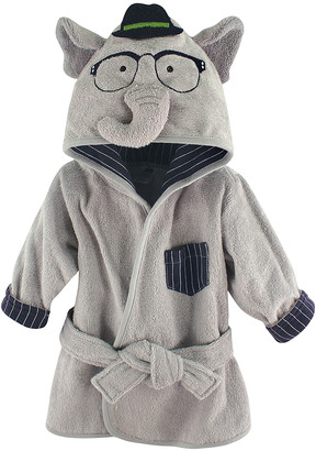 Hudson Baby Boys' Bath Robes Smart - Smart Elephant Plush Hooded Bath Robe - Newborn