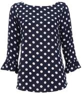 Wallis Navy Polka Dot Flute Sleeve Top