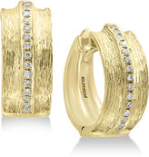 Effy Diamond Textured Hoop Earrings (1/5 ct. t.w.) in 14k Gold