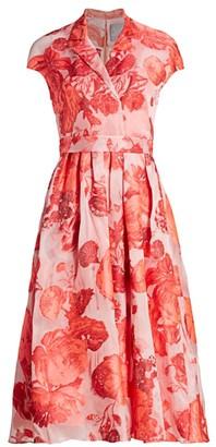Lela Rose Rose Fil Coupe Midi Dress