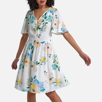 La Redoute Collections Floral Print Mini Dress with Short Sleeves and Pockets