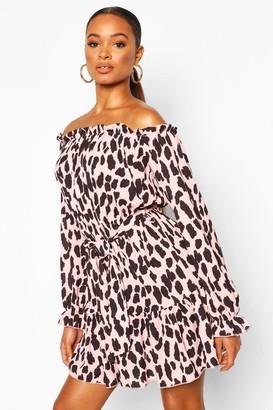 boohoo Dalmation Print Off The Shoulder Dress