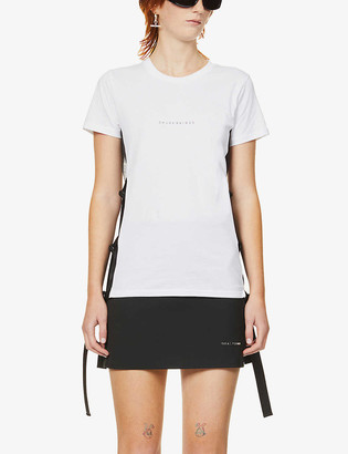 Chloe Baines Joseph mesh and side-buckle organic cotton T-shirt