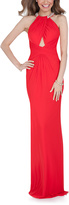 Terani Couture Red Cross-Strap Halter Gown