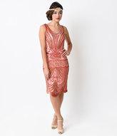 Unique Vintage 1920s Peach Deco Beaded Caspian Flapper Dress