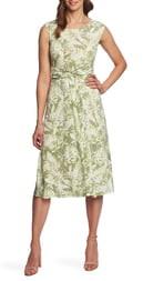 Chaus Tropical Foliage Tie Waist Dress