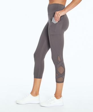 Bally Total Fitness Women's Leggings PLUM - Plum Kitten Mesh-Accent Pocket High-Waist Exhale 22'' Capri Leggings - Women