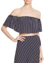 Bardot Mali Striped Off-the-Shoulder Crop Top