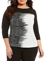 Calvin Klein Plus 3/4 Sleeve Striped Matte Jersey Top