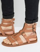 Asos Gladiator Sandals In Tan Leather With Zip