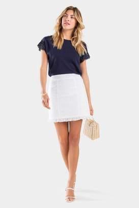 francesca's Nela Eyelet Ruffle Skirt - White