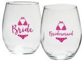 Kate Aspen Set of 4) Bride And Bridesmaids Beach Bikini 15 Oz. Stemless Wine Glass