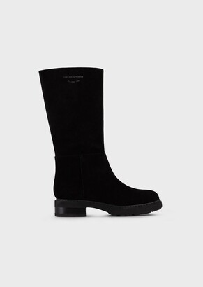Emporio Armani Velour Leather Boots With Milano 1981 Silkscreen Print