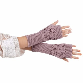 TIFIY Winter Warm Fingerless Gloves Christmas Clearance Women Warm Hollow Out Leaves Knitted Gloves Girl's Thermal Gloves Girl's Cute Christmas Snow Gloves Christmas Gift for Ladies Girls