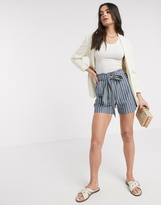 Vero Moda shorts with tie front in chambray blue stripe