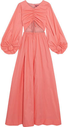 STAUD Tangier Cutout Ruched Shell Maxi Dress