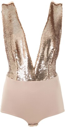 Olympiah Low-Back Sequin-Detail Bodysuit