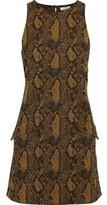 Joie Tonie Cotton-blend Snake-jacquard Mini Dress