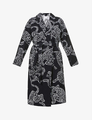 Desmond & Dempsey Jaguar-print cotton towelling dressing gown