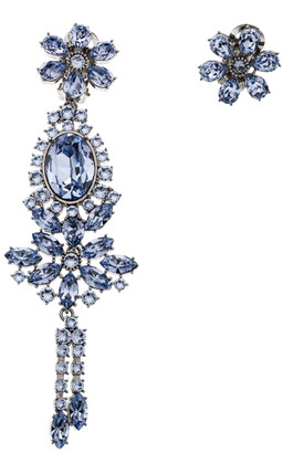 Burberry Flower Crystal Silver Tone Clip-on Asymmetric Stud Drop Earrings