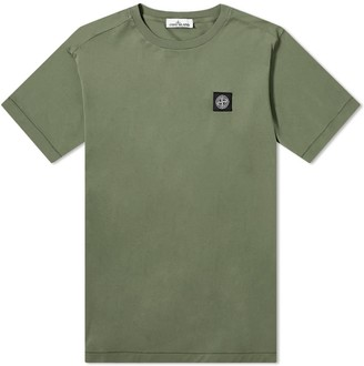Stone Island Garment Dyed Patch Logo Tee Olive - M | cotton | olive - Olive