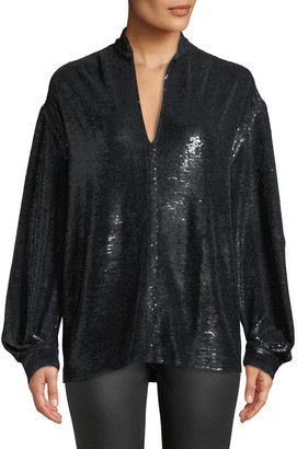 IRO Great Sequin Long-Sleeve Tunic Top