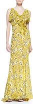 Zac Posen Sleeveless Ruffle Neck Gown with Ribbon Belt, Floral Print