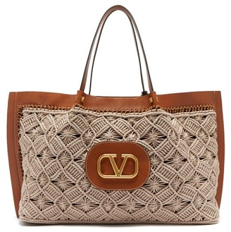Valentino V-logo Escape Large Macrame And Leather Tote Bag - Womens - Tan Multi