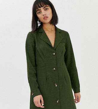 Glamorous Petite button front dress with collar-Green