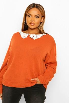 boohoo Plus Lace Collar Sweater