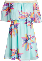 Judith March Blue Not So Wall Flower Off-Shoulder Dress