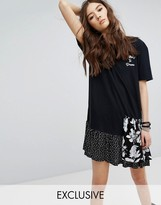Reclaimed Vintage Inspired T-Shirt Dress With Contrast Ruffle And Front Print