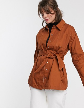 Glamorous button through belted shirt-Orange