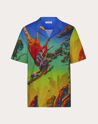Valentino Dragon At Dawn Print Short-sleeved Shirt Man Multicolored Cotton 100% 46