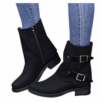 OverDose Women's Clothing Womens Chelsea Ankle Boots Low Heel Buckle Zip Closure Pointy Toe Ladies Shoes Black