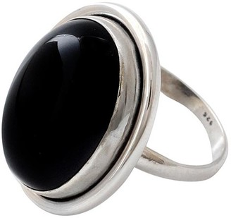 Novica Artisan Crafted Sterling Oval Onyx Ring