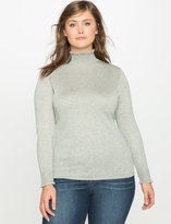 ELOQUII Plus Size Ruffle Mock Neck Sweater