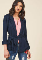MCO1069 From days at the office to nights on the town, this navy drape blazer feels absolutely 'you' through and through. Finished pockets, double-breasted buttons, and a waist-cinching sash all contribute to the authentic feel of this ModCloth namesake label lay