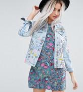 Glamorous Petite Denim Jacket In Grafitti Print
