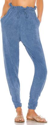 Indah Iris Stonewash Paper Bag Waist Trouser