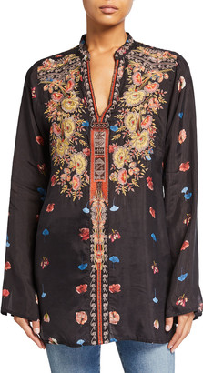 Johnny Was Plus Size Bania Floral Print Embroidered Cupro Blouse