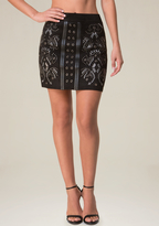 Bebe Studs Faux Suede Miniskirt