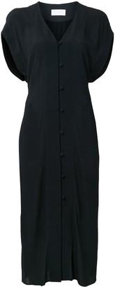Mame Kurogouchi buttoned V-neck midi dress