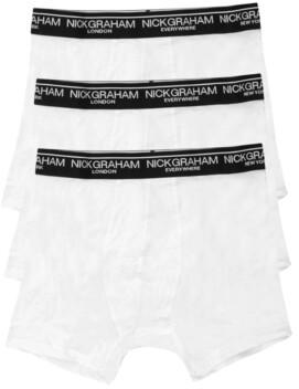 Nick Graham Men's 3 Pack Cotton Solid Boxer Briefs