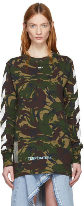 Off-White Off White Green Camouflage Diagonal T-Shirt