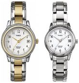 Timex Dress Watch | Stainless Steel Bracelet & Case White Dial | Womens Indiglo
