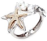 Oscar de la Renta Faux Pearl Two-Tone Pave Starfish Cuff