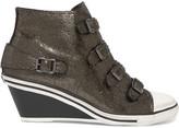Ash Metallic cracked-leather wedge sneakers